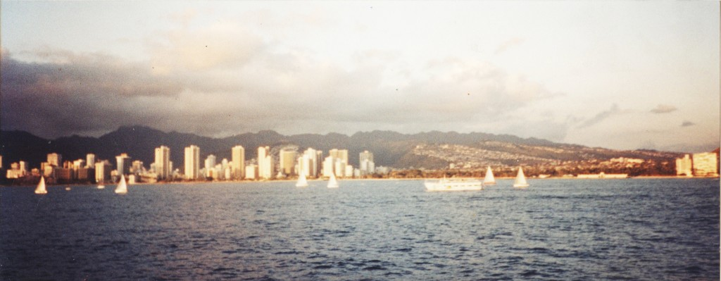 View of the hotels that dot Waikiki Beach.