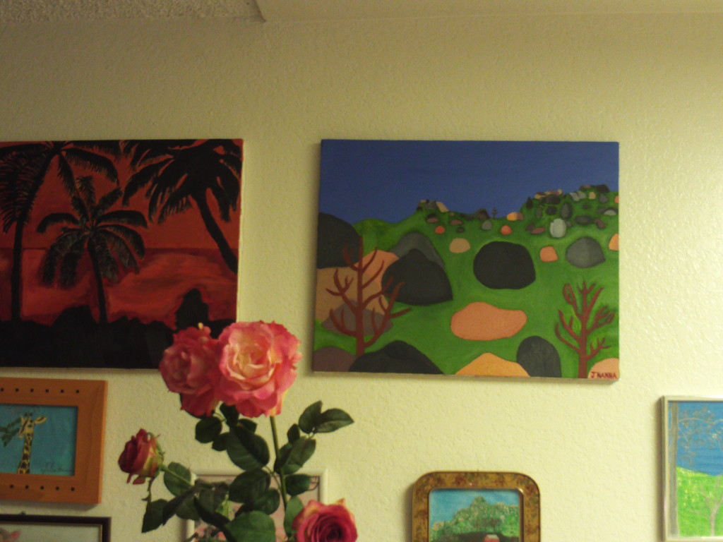 Here the Pinnacles painting is hanging on the wall.