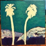 Painting The Palm Trees And Mountains